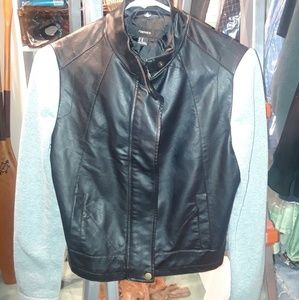 Forever 21 leather and fabric sleeve jacket SMALL